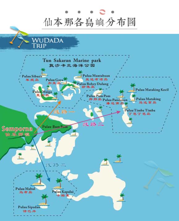 岛屿距仙本那镇约45分钟船程,为无人小海岛,景色非常美,高大的椰子树