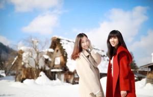 【白川乡图片】👭姐妹淘,撒花兒的蹦到白川鄉,隆冬裡白川乡的雪像棉花糖❄️🍭