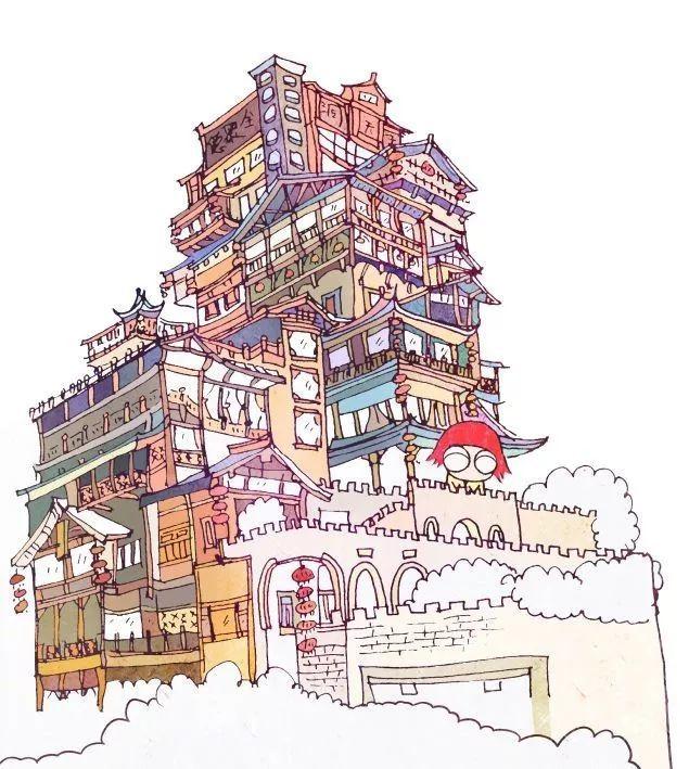 楼梯梦幻奇妙图片手绘