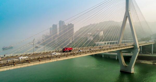 重慶長江大橋畫畫圖