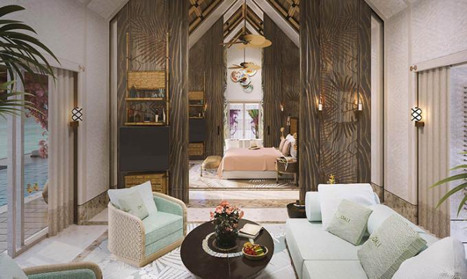 280㎡ 最多入住: 2大 2小或3大  豪华水上泳池别墅拥有108平米的室内
