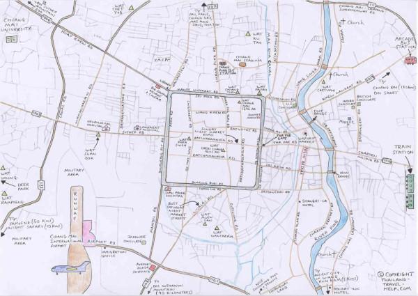清迈手绘地图map of chiangmai