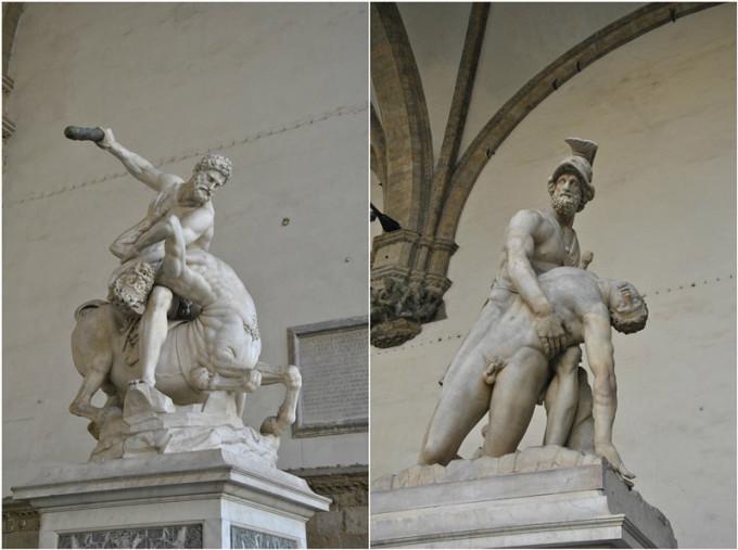 《赫克里斯和半人半马》和《墨涅拉俄斯扶起帕特罗克洛斯的身体》