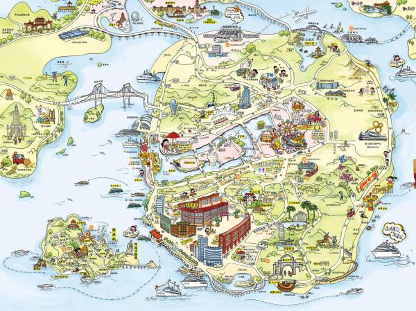 集美旅游手绘地图