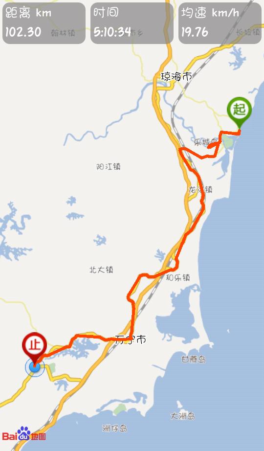 第三天路线:博鳌-龙滚镇-和乐镇-万宁市-兴隆镇(全程约102km)图片
